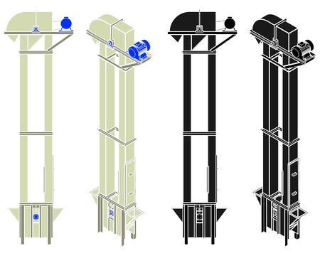 bucket elevator grain without outline.