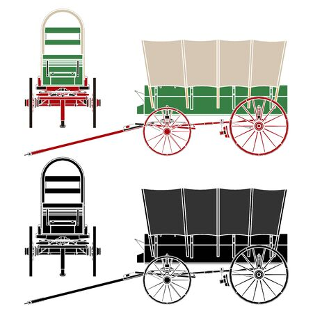 Chuck Wagon Popular covered wagon. Without outline.