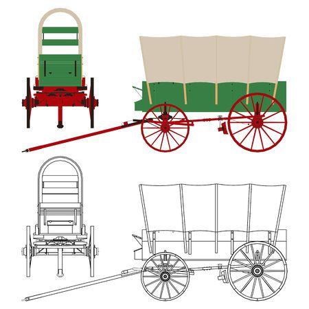 Chuck Wagon Popular covered wagon. Vector Illustratie