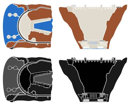Hoover hydroelectric Dam colored and outline.