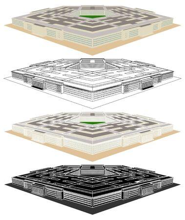 Centre administratif militaire. La vue en perspective du Pentagone. Vecteurs