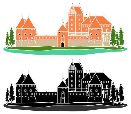 Trakai Island Castle without outline. Векторная Иллюстрация