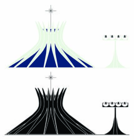 Brasilia Cathedral colored without outline. Illustration