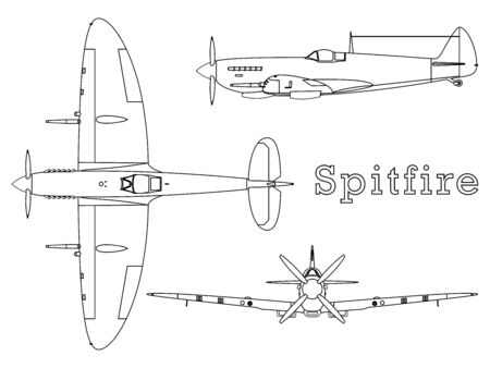 Supermarine Spitfire aircraft WWII outline only.
