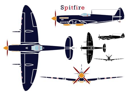 Supermarine Spitfire aircraft WWII without outline. Ilustração