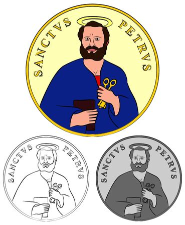 Saint Peter medal colored and outline.