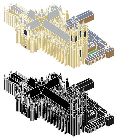 Westminster abbey colored perspective view and without outline. Векторная Иллюстрация