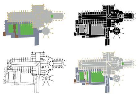 Westminster abbey colored and outline. Векторная Иллюстрация