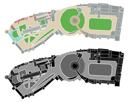 Windsor castle complex colored without outline.