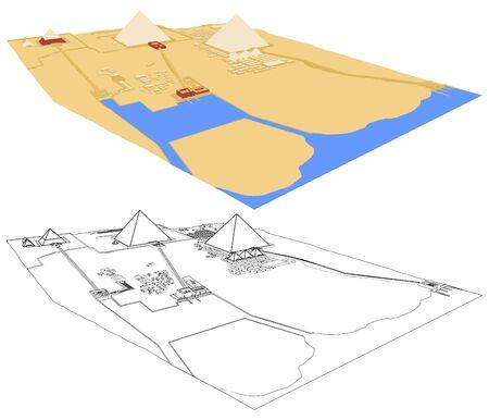 Giza Necropolis in perspective view. Illustration