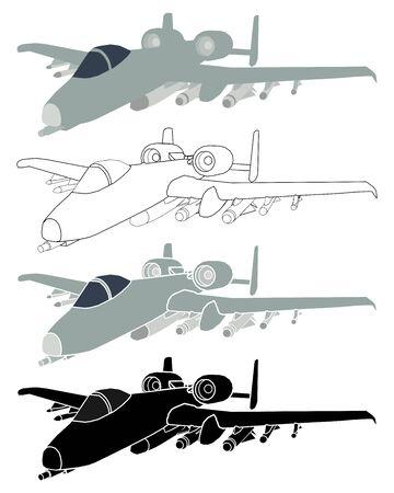 Thunderbolt aircraft in perspective view. Ilustração