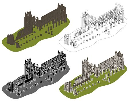 Whitby abbey in perspective view
