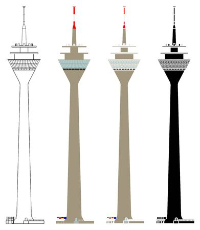 Rheinturm Duesseldorf tower in front view Illustration