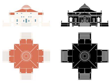 La Rotonda Haus in Vorder- und Draufsicht ohne Umriss. Vektorgrafik