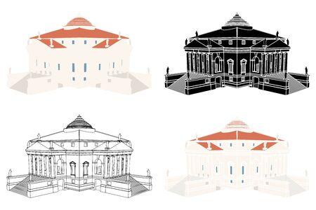 La Rotonda Haus in perspektivischer Ansicht.