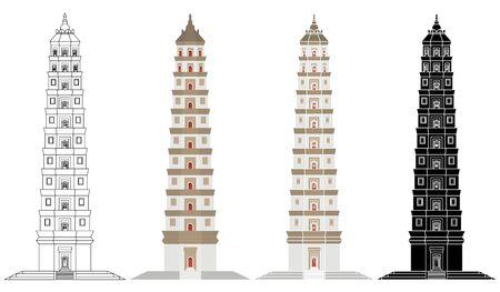 Liaodi Pagoda in front view Ilustración de vector