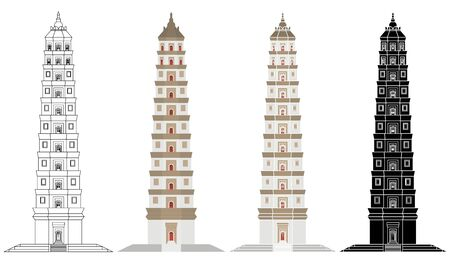 Liaodi Pagoda in front view Vector Illustration