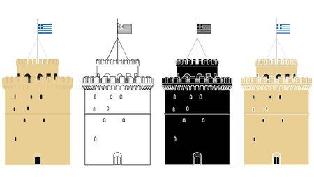 White Tower of Thessalonike colored Ilustração