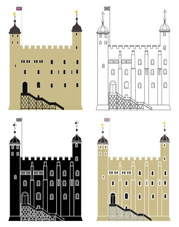 Tower and Royal Fortress in front view Ilustração