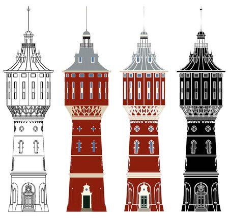 Water tower of Sneek in front view Ilustração