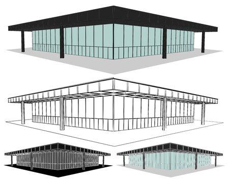 Neue National galerie in front view Ilustração