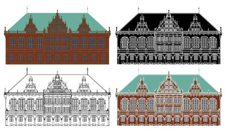 Old Bremen town hall in front view Illustration