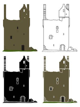 Knock Castle Aberdeenshire in front view Ilustração