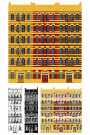 Lower East Side tenements in front view