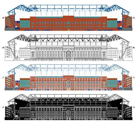 Ibrox Stadium in front view Ilustração