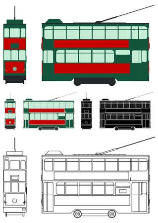 Hong Kong Tram colored, Asia.