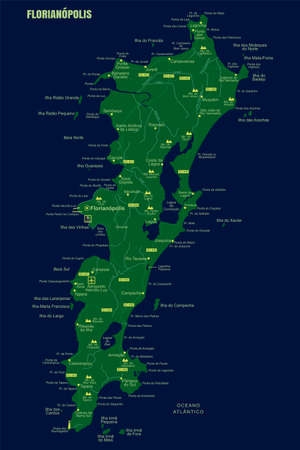 Colorful Florianopolis Island Map, Brazil