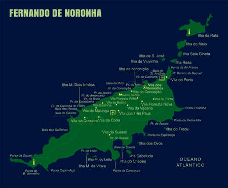 Colorful Fernando de Noronha Island Map, Brazil