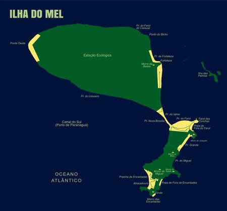 Colorful Mel Island Map, Brazil Ilustração