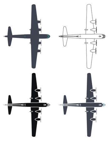 B29 superfortress airplane, Top view.