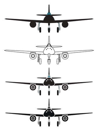 airplane in top view Vetores
