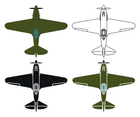military airplane in top view
