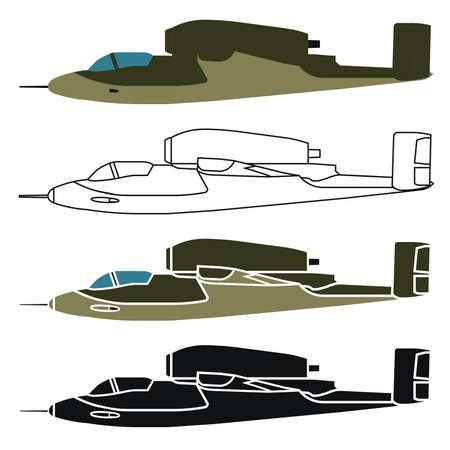 military airplane in right view Ilustración de vector