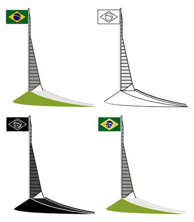 Mast of the National Flag, in Belo Horizonte, Brazil Ilustração