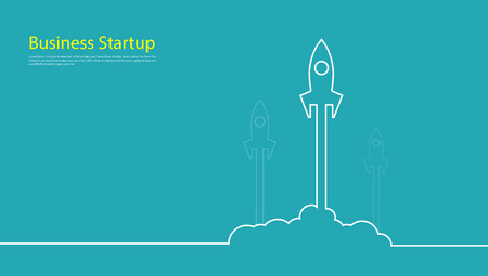 Business startup competition banner concept Rocket Vector and illustration flying rocket. Space travel to the moon. Space rocket launch. Project start up Solar System and text space.