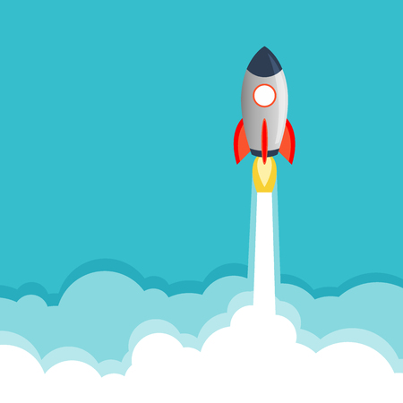 Rocket Paper Art Vector and illustration flying rocket.Space travel to the moon.Space rocket launch.Project start up rocket Solar System and text space