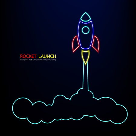 Rocket light neon colorful red blue yellow Vector and illustration flying rocket.Space travel to the moon.Space rocket launch.Project start up rocket Solar System and text space