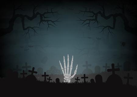 Halloween-Tag und Gräber-Friedhofsraum für Textvektor