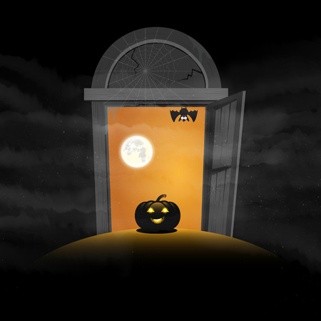 The gate of Halloween day pumpkins space for text vector
