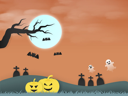 halloween day, there are many pumpkins and graves in meadowherd of bats beautiful and full moon