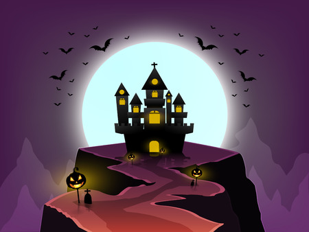 halloween day, witches cook in large boiler in the castle on the moutain beautiful and pumpkin pillars there are bats flying under the moon.