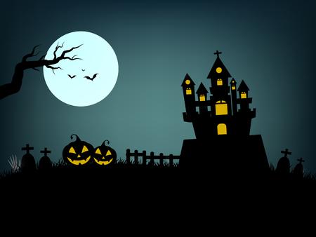 Halloween-Tag, in einer dunklen Nacht das Schloss, Grab und Geist beängstigend und dunkle fliegende Fledermäuse und Mond und Kürbis