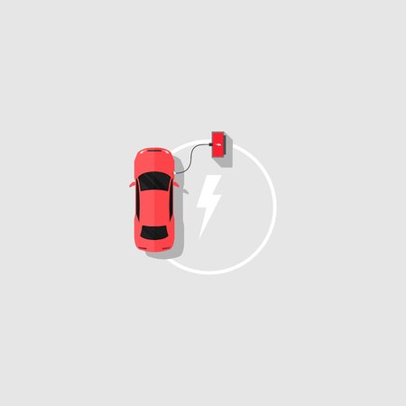 electric powe car and charging vector illustration of