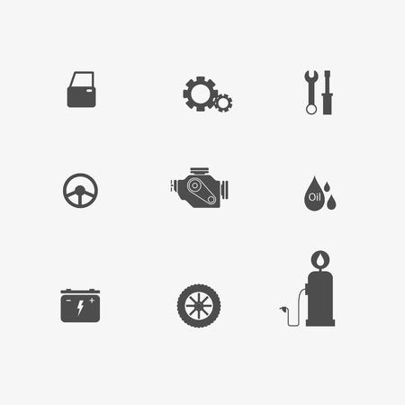 Ensemble d'entretien de pièces d'auto de voiture de garage ari, moteur, batterie, roue, volant, piston, pièce de suspension, disque de frein, absorber, équipement feul, échappement