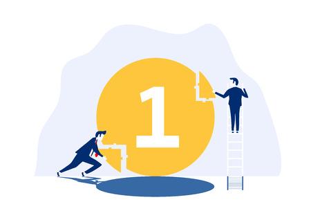 Successful team. flat 3d isometric business concept web vector illustration. Teamwork businessmen,Creative people.