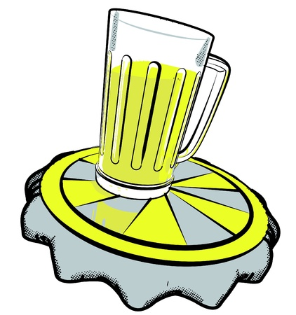 glass of beer set on beer cap Vector